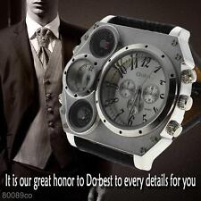 Military Army Dual Time Zone Movement Men's Wrist Watch Big Dial Leather Sports