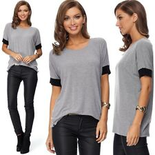 Summer Women Casual Cotton Short Sleeve Loose Basic Tee T-shirt Solid Top Blouse