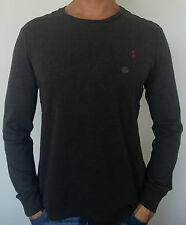 100% AUTHENTIC MENS DESIGNER POLO RALPH LAUREN LONG SLEEVE CUSTOM FIT TEE GREY
