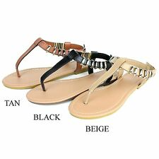 New Womens Gladiator Thong T Strap Metallic Gold Flat Flip Flops Sandals Shoes