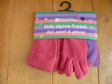 MOUNTAIN WAREHOUSE BRIGHT PINK LILAC FLEECE HAT GLOVES SCARF GIFT SET 4 5 6 NEW