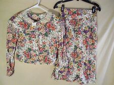 VINTAGE NEW Women's 2 Piece Blouse Skirt Dress Set Floral USA MADE -Med/Small