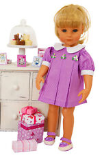 PRETTY DOLLS LILAC SPOTTY DRESS WITH FLOWER TRIM  BY FRILLY LILY LOTS OF SIZES
