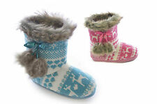 CHILDRENS GIRLS KNITTED KIDS SLIPPERS BOOTEE POM POM WARM BOOTS FAUX FUR COMFY