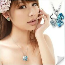 2016 Women Jewelry Silver Crystal Necklace Heart Four Leaf Clover Chain Pendant