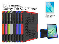 "For Samsung Galaxy Tab S2 9.7"" Heavy DutyTPU Back Stand case & screen protector"
