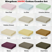 100% Cotton 250TC Fitted Sheet + Pillowcase/s ( No Flat ) - 5 Sizes available