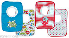 Baby Boys Girls 2 Pack Pop Over Bibs Novelty Superhero Strawberry Dribble Bib BN
