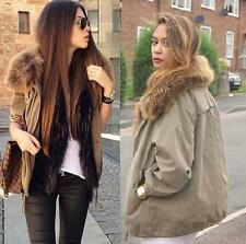 Authentic!!! Size S L - NWT ZARA COTTON PARKA WITH FUR COLLAR KHAKI COAT JACKET