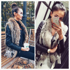 Perfect Coming Real Farm Knitted Rabbit Fur Waistcoat/Vest/Gilet Collar Tassel