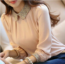 Korean Stylish Chiffon Slim Casual Top Doll Collar Long Sleeve Shirt OL Blouse