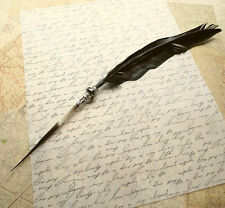 Raven Wing Ink Dip METAL NIB Porcupine Quill Feather Pen and Hematite STEAMPUNK