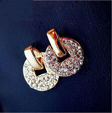 New Fashion Crystal Rhinestone Round Copper Coin-Shaped Colorfast Women Earring