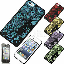 NEW iPhone SE Cover Stylish Flexible Anime Flower Girl Hard w Screen Protector
