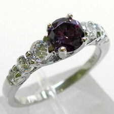 CLASSY 1 CT AMETHYST 925 STERLING SILVER RING SIZE 5-10