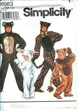 Simplicity 9983 Leopard Lion Bear Rabbit Bunny Furries Costume Pattern UNCUT FF