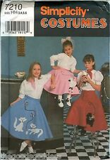 Simplicity 7210 Poodle Skirt 50s Girls Circle sewing pattern appliques UNCUT FF
