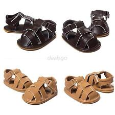Baby Boy Summer Sandals Soft Sole Anti-Slip Crib Shoes PU Leather Prewalker