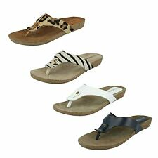 LADIES LEATHER COLLECTION  NAVY/WHITE AND ANIMAL PRINT  TOE POST SANDALS F10500