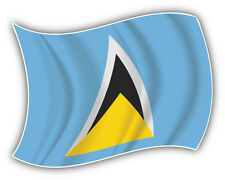 Saint Lucia Flag Waving Car Bumper Sticker Decal 5'' x 4''