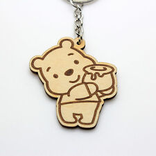 5cm(H) WINNIE THE POOH HONEY 1 CUTE CHIBI HANDMADE WOODEN KEY RING KEY CHAIN 052