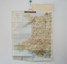 Vintage Ordnance Survey map Wales and the Marches 1950s paper Quarter Inch blue