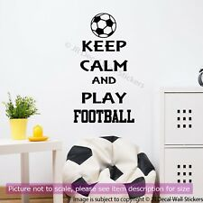 Keep Calm and Play Football Quote Wall Sticker Vinyl Wall Decal Sport Art Decor