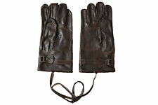Genuine Swedish Army Issue Vintage Retro Brown Leather Motorcycle Biker Gloves