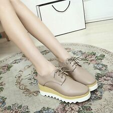 Women's Faux Leather Creepers Wedge Heel Pumps Lace Up Boots High Platform Shoes