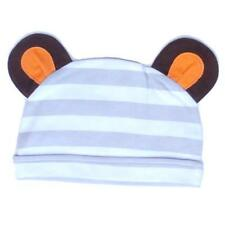 Olive & Moss Grey White Striped Baby Boy Girl Monkey Ears Hat 0-3-6 Months