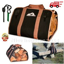 Firewood Logs Carrier Bag Canvas Tote Wood Holder Fireplace Travel Camping Gear