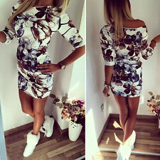 Womens Off The Shoulder Floral Party Evening Coaktail Bodycon Tunic Mini Dress