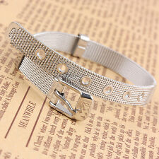 Stainless Steel Plain European Bracelet Clasp Chain 8mm Fits Charm Bead Jewelry