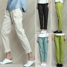 Korean Fashion Womens Cotton Linen Elastic Waist Casual Harem Pants Trousers 2XL