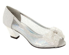 WOMENS SILVER GLITTER WEDDING BRIDAL PARTY EVENING COURT SHOES LADIES SIZE 3-8