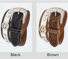 XS Kids Western Leather Tool Belt fits 20-28 Waist Crystals & Texas Star Concho