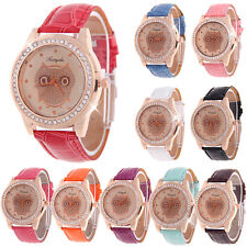 Ladies Fashion Dress Owl Dial Women White Leather Hours Wrist Watch New Girl