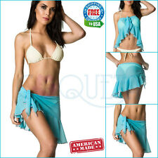 Coqueta Chiffon Spandex Cover up Swimwear Sarong Pareo Canga Swimsuit Wrap