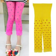 Stretchy Girls Kids Skinny Pants Child Leggings Trousers Toddler Lace Tight 2-7Y