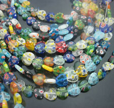 Pack Size.Wholesale Multi-Colored Shining Heart Millefiori Glass Beads,8&10&12mm