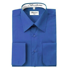 BERLIONI ITALY MEN'S CONVERTIBLE CUFF SOLID ITALIAN FRENCH DRESS SHIRT BLUE