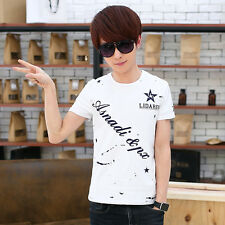 Men Fashion Slim SHirt Letter Printed O-Neck Short Sleeve Casual T-Shirt