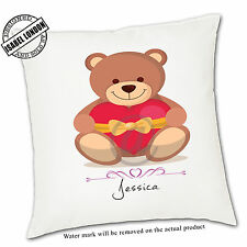 Personalised Teddy Bear Cushion Cover.Add your own text-ILVC 1113