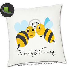 Personalised Honey Bee Cushion Cover.Add your own text-ILVC 1116
