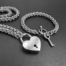 Silver Tone Working Heart Padlock Set Matching Steel Chain Necklace & Bracelet