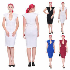 MARYCRAFTS WOMENS WEAR TO WORK OFFICE BUSINESS DEEP V NECK BODYCON PENCIL DRESS