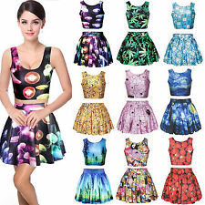 3D Prints Crop Tops/Skirt Mini Dress Vest High Waist Skater Cami Midriff Womens
