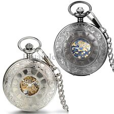Mens Steampunk Roman Numerals Dial Face Pocket Watch Mechanical Chain Necklace