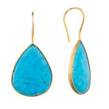 18K Gold Plated Earrings Turquoise Colored Quartz Pear Drop Silver Earrings Pair