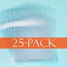 Pack of 25 Self Adhesive Cello Bags with Protective Adhesive Closure, Resealable